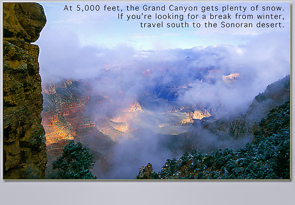 Fog over Grand Canyon, Arizona. John leads private, photo tours throughout Colorado, including Denver and Boulder.