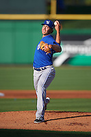 Dunedin Blue Jays starting pitcher Tom Robson (35) delivers a warmup pitch during a game against the Clearwater Threshers on April 8, 2016 at Bright House Field in Clearwater, Florida.  Dunedin defeated Clearwater 8-3.  (Mike Janes/Four Seam Images)