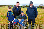 Enjoying the Abbeydorney Coursing on Sunday. <br /> L-r, Eoin Costello (Tralee), Patsy O&rsquo;Rourke (Ballyduff), Eugene Costello (Ardfert) with their dog Ash Castle View and Sean Jerome O&rsquo;Regan (Kilmoyey).