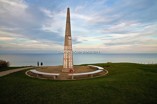 1st Infantry Division monument, Omaha Beach, site of Allied landing on June 6, 1944, Normandy, France.
