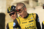 Robert Gesink (NED) Team LottoNL-Jumbo at sign on before the start of the 112th edition of Il Lombardia 2018, the final monument of the season running 241km from Bergamo to Como, Lombardy, Italy. 13th October 2018.<br /> Picture: Eoin Clarke | Cyclefile<br /> <br /> <br /> All photos usage must carry mandatory copyright credit (© Cyclefile | Eoin Clarke)