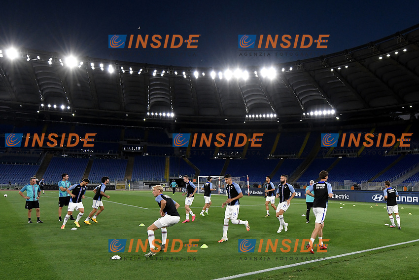 Sampdoria players warm up during the Serie A football match between AS Roma and UC Sampdoria at Olimpico stadium in Rome ( Italy ), June 24th, 2020. Play resumes behind closed doors following the outbreak of the coronavirus disease. AS Roma won 2-1 over UC Sampdoria. <br /> Photo Andrea Staccioli / Insidefoto