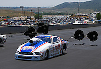 Jul. 21, 2013; Morrison, CO, USA: NHRA pro stock driver Larry Morgan during the Mile High Nationals at Bandimere Speedway. Mandatory Credit: Mark J. Rebilas-
