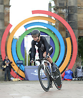 New Zealand's Linda Villumsen, who eventually went on to win the time trial, set off from the start line<br /> <br /> Photographer Chris Vaughan/CameraSport<br /> <br /> 20th Commonwealth Games - Day 8 - Thursday 31st July 2014 - Cycling - time trial - Glasgow - UK<br /> <br /> © CameraSport - 43 Linden Ave. Countesthorpe. Leicester. England. LE8 5PG - Tel: +44 (0) 116 277 4147 - admin@camerasport.com - www.camerasport.com
