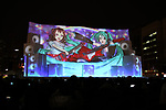 February 4, 2019, Sapporo, Japan - A projection mapping is cast on a large snow sculpture of characters of Hatsune Miku (R) and Toyama Kasumi (L) at the 70th annual Sapporo Snow Festival in Sapporo in Japan's nortern island of Hokkaido on Monday, February 4, 2019. The week-long snow festival started at the Odori Park in central Sapporo through February 11 and over 2.5 million people are expecting to visit the festival.   (Photo by Yoshio Tsunoda/AFLO) LWX -ytd-