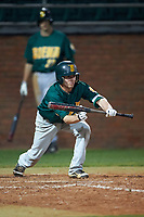 Siena Saints shortstop Tyler Martis (1) bunts during a game against the Stetson Hatters on February 23, 2016 at Melching Field at Conrad Park in DeLand, Florida.  Stetson defeated Siena 5-3.  (Mike Janes/Four Seam Images)