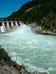 Hydro electric generating dam at Brilliant on Kootenay River at Castlegar British Columbia Canada<br />