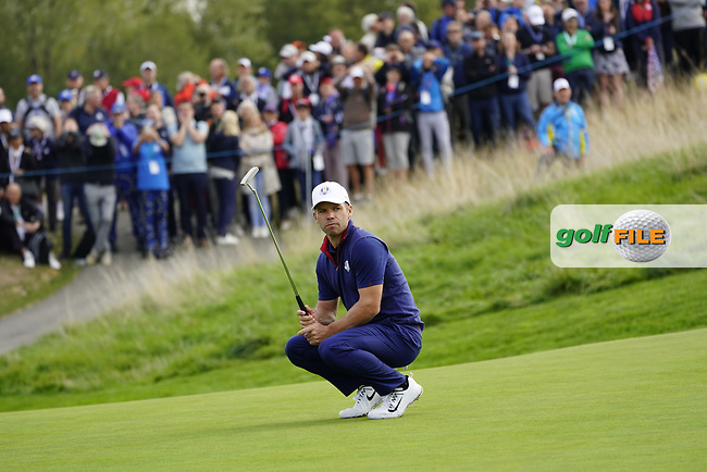 Paul Casey (Team Europe) on the on the 8th during the friday fourballs at the Ryder Cup, Le Golf National, Iles-de-France, France. 27/09/2018.<br /> Picture Fran Caffrey / Golffile.ie<br /> <br /> All photo usage must carry mandatory copyright credit (© Golffile | Fran Caffrey)