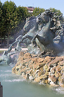 The Monument aux Girondins. Detail horses. Esplanade des Quinconces. Bordeaux city, Aquitaine, Gironde, France
