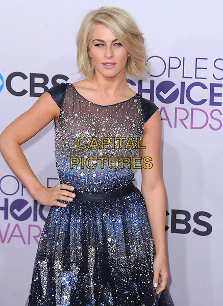 Julianne Hough.The 2013 People's Choice Awards held at Nokia Live in Los Angeles, California 9th January 2013                                                                   .half length dress silver blue beads beaded tulle hand on hips.CAP/DVS.©DVS/Capital Pictures.