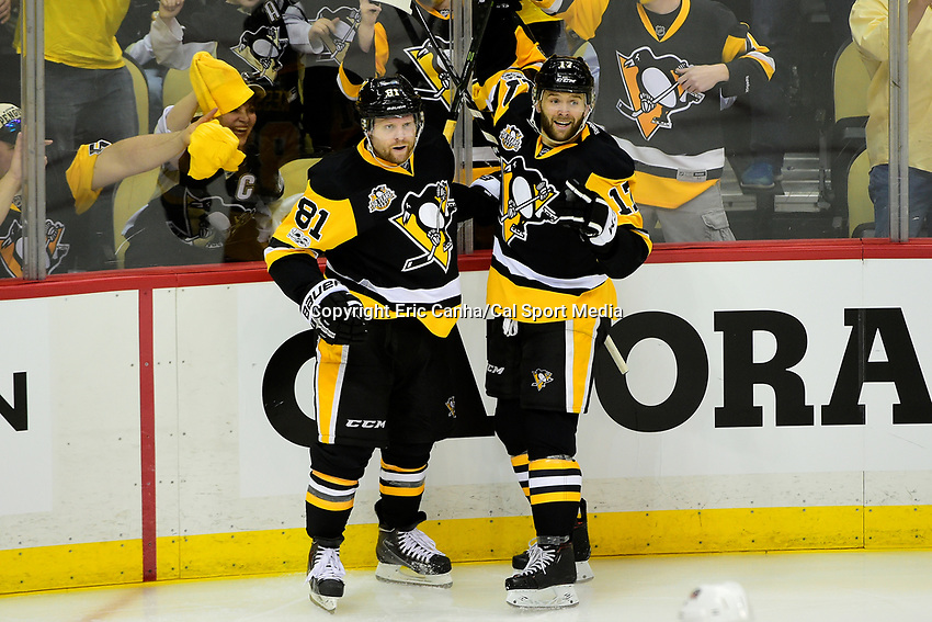 during game 1 of round one of the National Hockey League Eastern Conference Stanley Cup Playoffs between the Columbus Blue Jackets and the Pittsburgh Penguins, held at PPG Paints Arena, in Pittsburgh, PA.  Pittsburgh defeats Columbus 3-1. Eric Canha/CSM