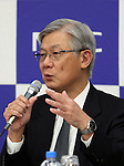 October 31, 2016, Tokyo, Japan - Japanese electronics giant NEC president Takashi Niino announces the company's first half financial result ended September 30 in Tokyo on Monday, October 31, 2016. NEC posted 3.7 billion yen for operating profit, 15.3 billion yen down from previous year.   (Photo by Yoshio Tsunoda/AFLO) LWX -ytd-