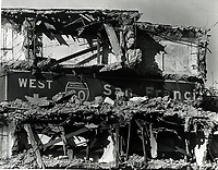 The rubble of the Cypress Freeway, part of the Bay Bridge Maze in ruins after the 7.1 Loma Prieta Earthquake Oct 17,1989. Oakland, Ca (photo by Ron Riesterer)