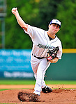 25 July 2010: Vermont Lake Monsters pitcher Colin Bates on the mound against the Tri-City ValleyCats at Centennial Field in Burlington, Vermont. The ValleyCats came from behind to defeat the Lake Monsters 10-8 in NY Penn League action. Mandatory Credit: Ed Wolfstein Photo