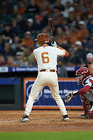 DJ Petrinsky (6) of the Texas Longhorns at bat against the Arkansas Razorbacks in game six of the 2020 Shriners Hospitals for Children College Classic at Minute Maid Park on February 28, 2020 in Houston, Texas. The Longhorns defeated the Razorbacks 8-7. (Brian Westerholt/Four Seam Images)