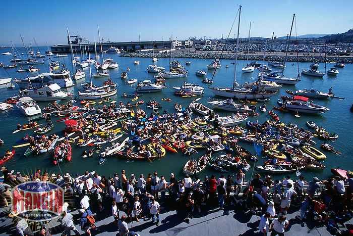SAN FRANCISCO, CA - Boats fill McCovey Cove outside of Pacific Bell Park as fans wait to catch a Barry Bonds home run ball in San Francisco, California in 2000. (Photo by Brad Mangin)