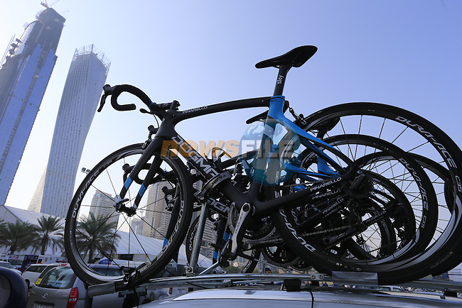 Team Sky Pinarello F8s on the team car before the start of Stage 2, the Nakheel Stage, of the 2016 Dubai Tour starting at the Dubai International Marine Club and running 188km to Palm Jumeirah Atlantis, Dubai, United Arab Emirates. 4th February 2016.<br /> Picture: Eoin Clarke | Newsfile<br /> <br /> <br /> All photos usage must carry mandatory copyright credit (&copy; Newsfile | Eoin Clarke)