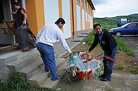 """Members of the Roma or gypsy theater Romathan arrive at the Banske Elementary School with a Roma or gypsy majority student body to perform for young children in """"Dwarf"""" in Banske, Slovakia on June 2, 2010."""
