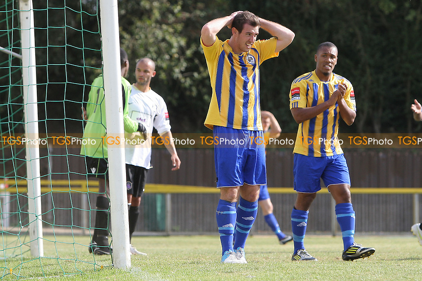 Disappointment for Nick Reynolds of Romford as a chance goes wide - Romford vs Dulwich Hamlet - FA Trophy 1st Qualifying Round Football at Ship Lane, Thurrock FC - 15/09/12 - MANDATORY CREDIT: Gavin Ellis/TGSPHOTO - Self billing applies where appropriate - 0845 094 6026 - contact@tgsphoto.co.uk - NO UNPAID USE.