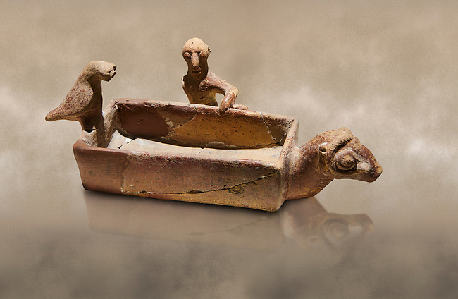 Assyrian Trader Colony Bronze Age terracotta sandal shaped ritual vessed. This cult pot is boat shaped with an animal head at the front. Inside the vessel is god. The deities associated with the ritual vessel were associated with trade and transportation in Ancient Mesopotamia and Summerian literature. The vessel signifies a religious river trip.  - 19th  century BC - Kültepe Kanesh - Museum of Anatolian Civilisations, Ankara, Turkey.  Against a warn art background.