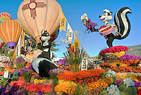 Pepe le Pew, Penelope Pussycat,   Rose Parade, Tournament of Roses Float,   California, rose perennial flowering shrub, vine genus Rosa, colorful, Enchantment in the Air, Fiesta, Parade, Floats