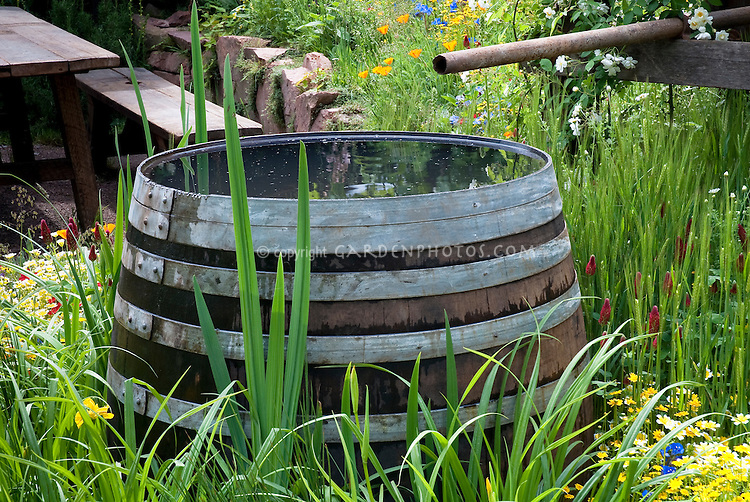Exceptional Pretty Wooden Staves Rain Barrel In Garden Of Flowers, Collection And  Conservation Of Water For