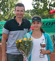 August 9, 2014, Netherlands, Rotterdam, TV Victoria, Tennis, National Junior Championships, NJK,  Prize giving, Richard Krajicek with Liza Lebedzeva, runner up  girls 16 years<br /> Photo: Tennisimages/Henk Koster