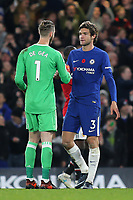 David de Gea of Manchester United shakes hands with his fellow Spaniard, Marcos Alonso of Chelsea, at the end of the match during Chelsea vs Manchester United, Premier League Football at Stamford Bridge on 5th November 2017