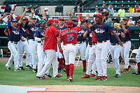 Clearwater Threshers Drew Stankiewicz (4) celebrates with teammates during the Home Run Derby before the Florida State League All-Star Game on June 17, 2017 at Joker Marchant Stadium in Lakeland, Florida.  FSL North All-Stars defeated the FSL South All-Stars  5-2.  (Mike Janes/Four Seam Images)