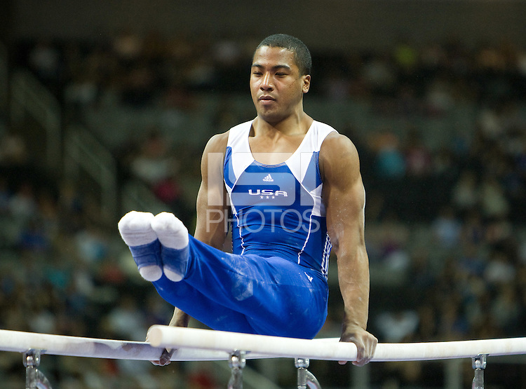 Joshua Dixon of USOTC competes on Parallel Bars during the 2012 US Olympic Trials competition at HP Pavilion in San Jose, California on June 28th, 2012.