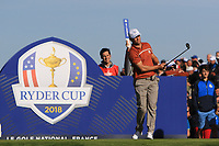 Alex Noren (Team Europe) at the 12th tee during Saturday Foursomes at the Ryder Cup, Le Golf National, Ile-de-France, France. 29/09/2018.<br /> Picture Thos Caffrey / Golffile.ie<br /> <br /> All photo usage must carry mandatory copyright credit (&copy; Golffile | Thos Caffrey)