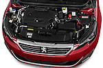 Car Stock 2015 Peugeot 308 GT 5 Door Hatchback Engine high angle detail view