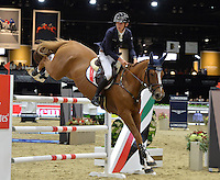 Bertram Allen (Ireland), riding Quiet Easy 4 at the Gucci Gold Cup International Jumping competition at the 2015 Longines Masters Los Angeles at the L.A. Convention Centre.<br /> October 3, 2015  Los Angeles, CA<br /> Picture: Paul Smith / Featureflash