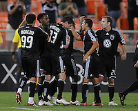 DC United forward Luciano Emilio (11) celebrates with team mates after scoring in the 39th minutes of the game.  DC United defeated The Kansas City Wizards 1-0 at RFK Stadium, Wednesday September 9 , 2009.