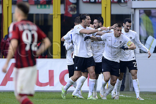 18.01.2015. Milan, Italy. Serie A football league. AC Milan verus Atalanta.  Goal celebration from German Denis for Atalanta 0-1 with team mates