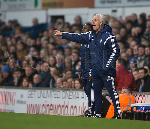 03.04.2015.  Ipswich, England. Skybet Championship. Ipswich Town versus AFC Bournemouth. Mick McCarthy, the Ipswich Town manager looks to get his point across from the touchline.