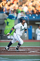 Hillsboro Hops center fielder Jorge Perez (16) follows through on a swing during a Northwest League game against the Salem-Keizer Volcanoes at Ron Tonkin Field on September 1, 2018 in Hillsboro, Oregon. The Salem-Keizer Volcanoes defeated the Hillsboro Hops by a score of 3-1. (Zachary Lucy/Four Seam Images)