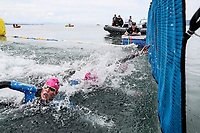 Matt Scott reaches out to claim the win in a tight finish. Swimming New Zealand Open Water Championships, 5km Epic, Lake Taupo, Waikato, New Zealand, Sunday 14 January 2018. Photo: Simon Watts/www.bwmedia.co.nz