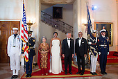 United States President Barack Obama and First Lady Michelle Obama pose for an official photo with Singapore Prime Minister Lee Hsien Loong and Madam Ho Ching on the Grand Staircase at the White House in Washington, DC on Tuesday, August 2, 2016. Photo by Leigh Vogel/UPI<br /> Credit: Leigh Vogel / Pool via CNP