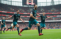 Southampton's Charlie Austin celebrating his goal during the EPL - Premier League match between Arsenal and Southampton at the Emirates Stadium, London, England on 8 April 2018. Photo by Andrew Aleksiejczuk / PRiME Media Images.