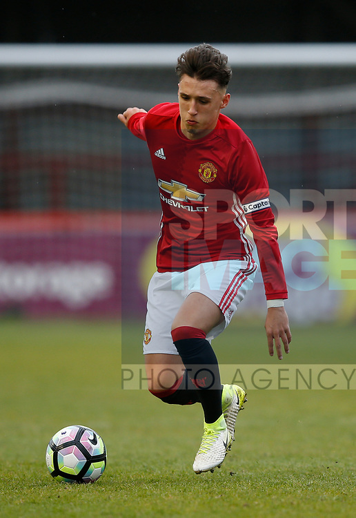 Callum Whelan of Manchester Utd during the U18 Premier League Merit Group A match at The J Davidson Stadium, Altrincham. Date 12th May 2017. Picture credit should read: Simon Bellis/Sportimage