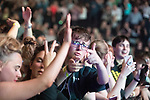 © Joel Goodman - 07973 332324 . No Editorial syndictaion permitted . 09/09/2017. Manchester , UK . Audience at the front of the stage . We Are Manchester reopening charity concert at the Manchester Arena with performances by Manchester artists including  Noel Gallagher , Courteeners , Blossoms and the poet Tony Walsh . The Arena has been closed since 22nd May 2017 , after Salman Abedi's terrorist attack at an Ariana Grande concert killed 22 and injured 250 . Money raised will go towards the victims of the bombing . Photo credit : Joel Goodman