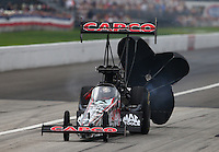 Sept. 1, 2014; Clermont, IN, USA; NHRA top fuel dragster driver Steve Torrence during the US Nationals at Lucas Oil Raceway. Mandatory Credit: Mark J. Rebilas-USA TODAY Sports