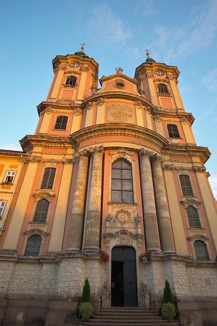 Minorite Church in the Dobo square at sunset - Eger Hungary