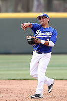 Oscar Sanay #2 of the Cal. St. Bakersfield Roadrunners makes a throw against the UCLA Bruins at Jackie Robinson Stadium in Los Angeles,California on May 14, 2011. Photo by Larry Goren/Four Seam Images