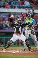 Erie Piñatas catcher Kade Scivicque (20) throws down to second base in front of batter Joey Bart during an Eastern League game against the Las Ardillas Voladoras de Richmond on August 28, 2019 at UPMC Park in Erie, Pennsylvania.  Richmond defeated Erie 4-3 in the second game of a doubleheader.  (Mike Janes/Four Seam Images)