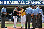 4 JUNE 2016:  Head coach Greg Brown of Nova Southeastern University and head coach John Shehan of Millersville University shake hands before the Division II Men's Baseball Championship held at the USA Baseball National Training Complex in Cary, NC.  Nova Southeastern University defeated Millersville University 8-6 to win the national title.  Grant Halverson/NCAA Photos