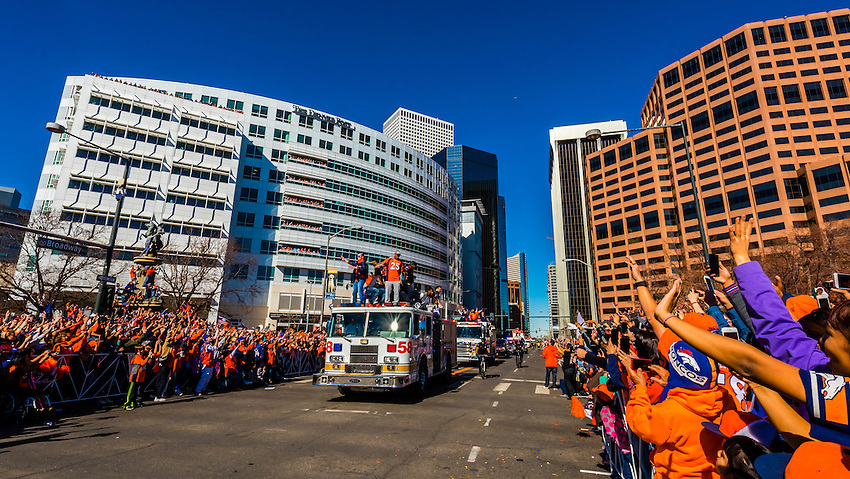 Denver Broncos' Chris Harris Jr. and Aqib Talib, Super Bowl 50 victory parade in Downtown Denver, Colorado USA.