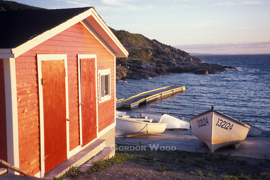 Fishing Dories and Boathouse in Cove, Avalon Peninsula, Newfoundland, Canada