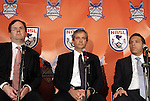 12 April 2012: From left: MLS President Mark Abbott, NASL Commissioner David Downs, and Vice-President of Traffic Sports Aaron Davidson. The Carolina RailHawks held a Fan Forum at Backyard Bistro in Raleigh, NC.